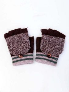 Wool Gloves Fingerless with Cover for Children Boy