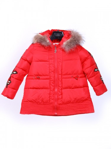 Jacket Parasut Fur Collar Kids Red