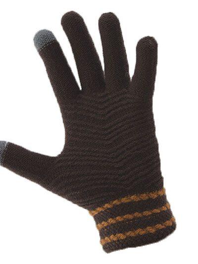 Simple Wool Gloves Three Stripe - Brown