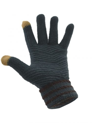 Simple Wool Gloves Three Stripe - Dark Grey